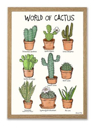 World of Cactus A3 plakat