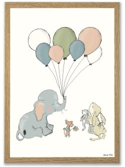 Elephant balloon A4 plakat