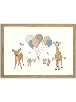 Animal Clothesline A4 plakat