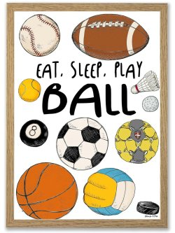 Eat, sleep, play ball A3 plakat