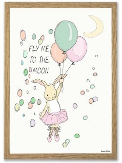 Fly me to the moon/GIRL A4 plakat