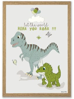 Dino Let the world hear you roar! A3 plakat