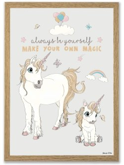 Unicorn Always be yourself A4 plakat