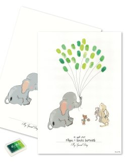 Baby Fingerprint - Elephant Balloon Green
