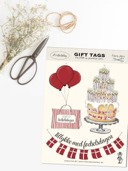 Fødselsdag A5 gift tags