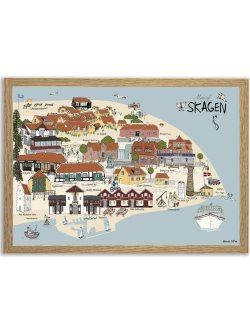 Map of Skagen 50 x 70 plakat