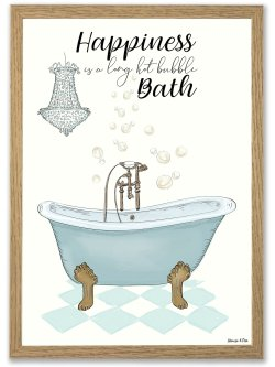 Happiness is a hot Bath A4 plakat